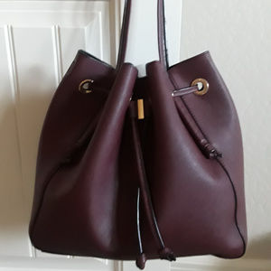 Zara Burgandy, Maroon, Wine Leather Bucket Bag